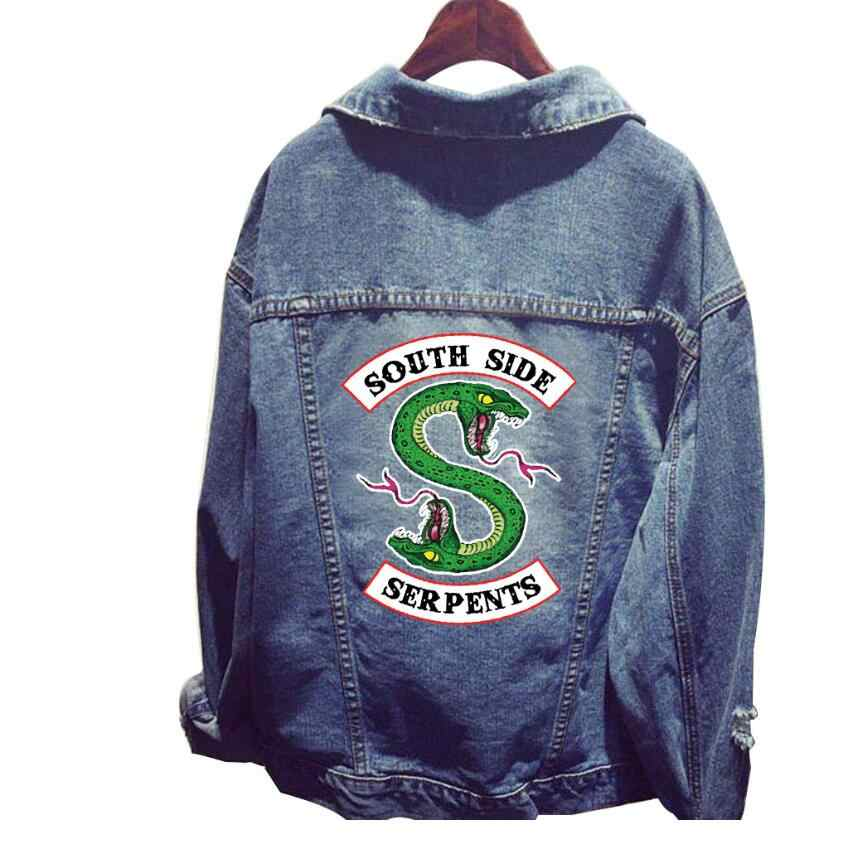 2019 New Cosplay costume Riverdale women oversize Denim Jacket South Side Serpents fashion hip top Jeans jacket coat  for women