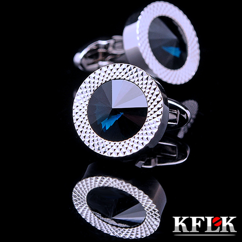 KFLK Luxury shirt cufflinks for mens Brand cuff buttons Blue Crystal cuff link High Quality abotoaduras gemelos Designer Jewelry kflk jewelry fashion shirt cufflinks for mens gift brand cuff links buttons blue high quality abotoaduras gemelos free shipping