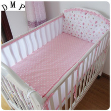 Promotion! 5PCS Mesh Girls Cot Baby Bedding Set Cot Sets 120*60CM Crib Sheet Set ,(4bumpers+sheet)
