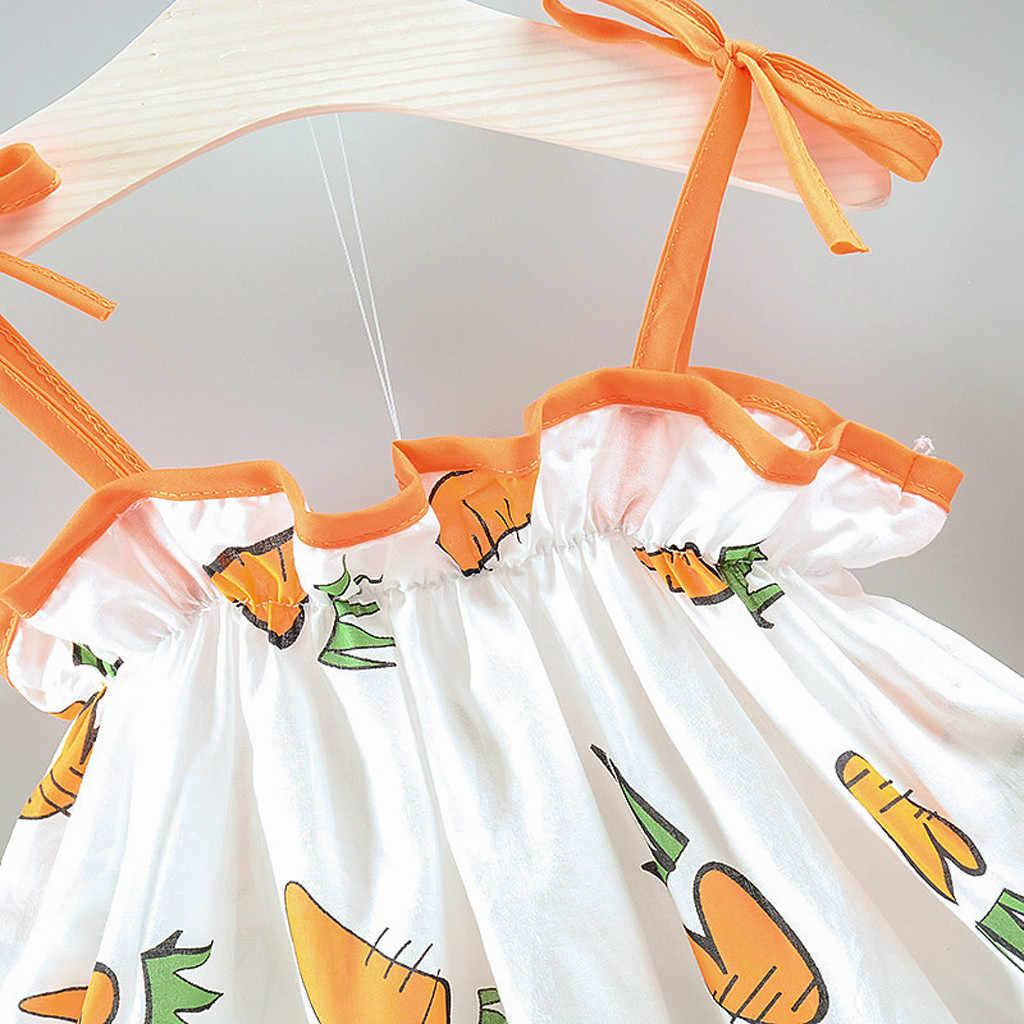 Платье принцессы для маленьких девочек; модное милое Повседневное платье принцессы с принтом моркови; комплект одежды с шляпой; vestidos para nignas