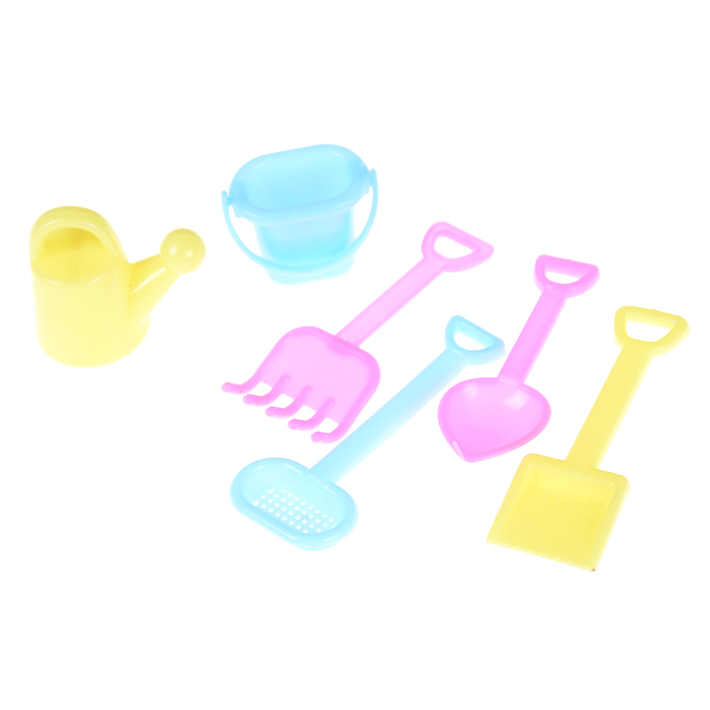 6 Pieces Classic Watering Can Plastic Garden Tools For 1/6 Barbi Doll House Decor Accs Furniture Toys Kids Xmas Birthday Gift