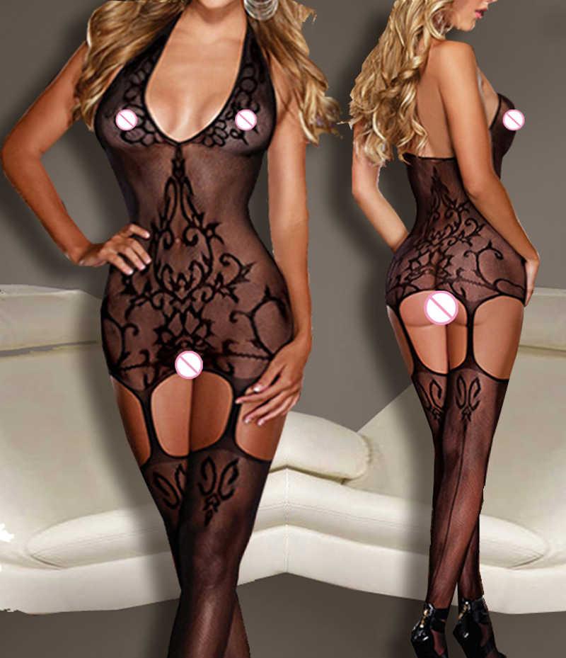 Las mujeres lencería Sexy Bodystocking Lencería ropa interior erótica Sexy  fina entrepierna abierta pura sexo cuerpo de9ca74d2c6b