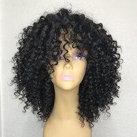 250 Плотность 13x6 Синтетические волосы на кружеве человеческих волос парики с челкой Deep кудрявые бразильские волосы парики шнурка для женски