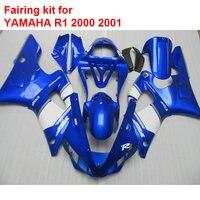 ABS en plastique carénages pour Yamaha YZFR1 2000 2001 bleu blanc noir carrosserie pièces carénages set YZF R1 00 01 BA59