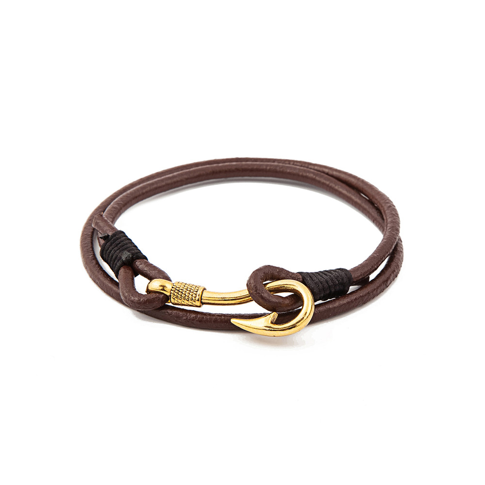 Aliexpress Fashion Men S Black And Brown Multilayer Leather Bracelet Gold Fish Hook Cuff Wristband Bangle Pulseira Masculina Couro From