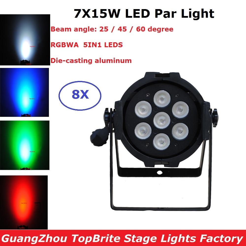 8 Unit Par LED Stage Lights 7*15W 5IN1 RGBWA Par LED DMX Stage Lighting Effect DMX 512 Controller LED Par Can For Dj Disco Party-in Stage Lighting Effect from Lights & Lighting    1