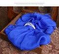Женщины Шарф дети высокое качество 100% Шелк Синий мода Зима Шарфы Зима Теплая люксовый бренд дизайнер шелковые Шарфы женщин 2016