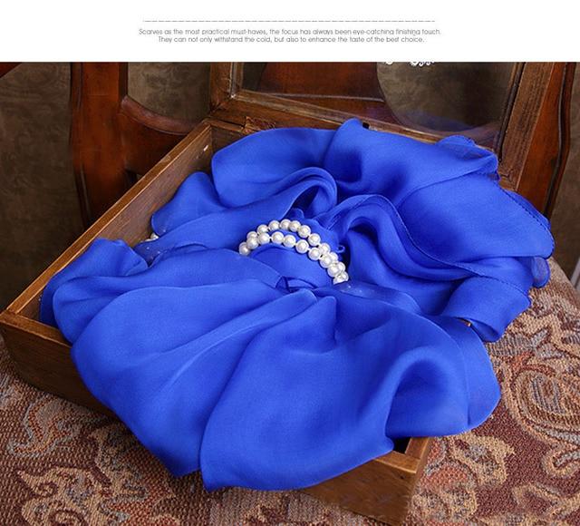 Womans Scarf kids high quality 100% Silk Blue fashion Winter Scarfs Winter Warm luxury brand designer silk Scarves women 2016