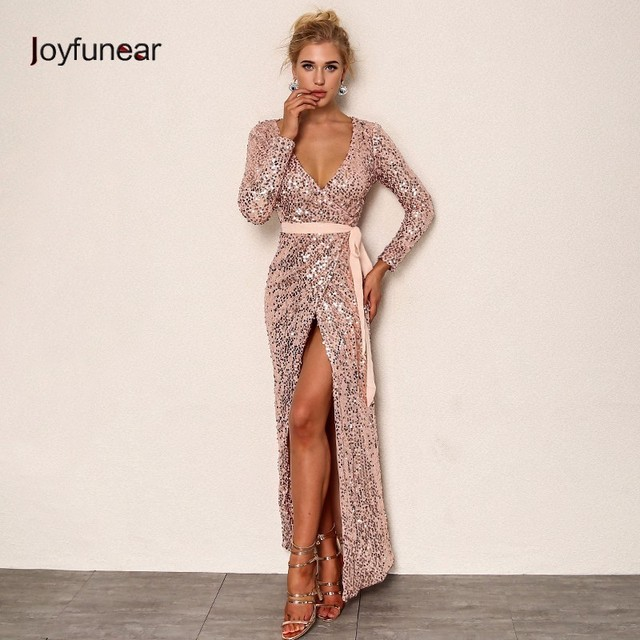 9884e0b6 Joyfunear Sexy Club Wear Party Dress Womens Pink Gold Knot Deep V Neck  Twist Front High Slit Long Sleeve Sequin Maxi Dress