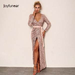 Joyfunear Sexy Party Dress Womens Long Sleeve Maxi Dress 5d12e3d2c259