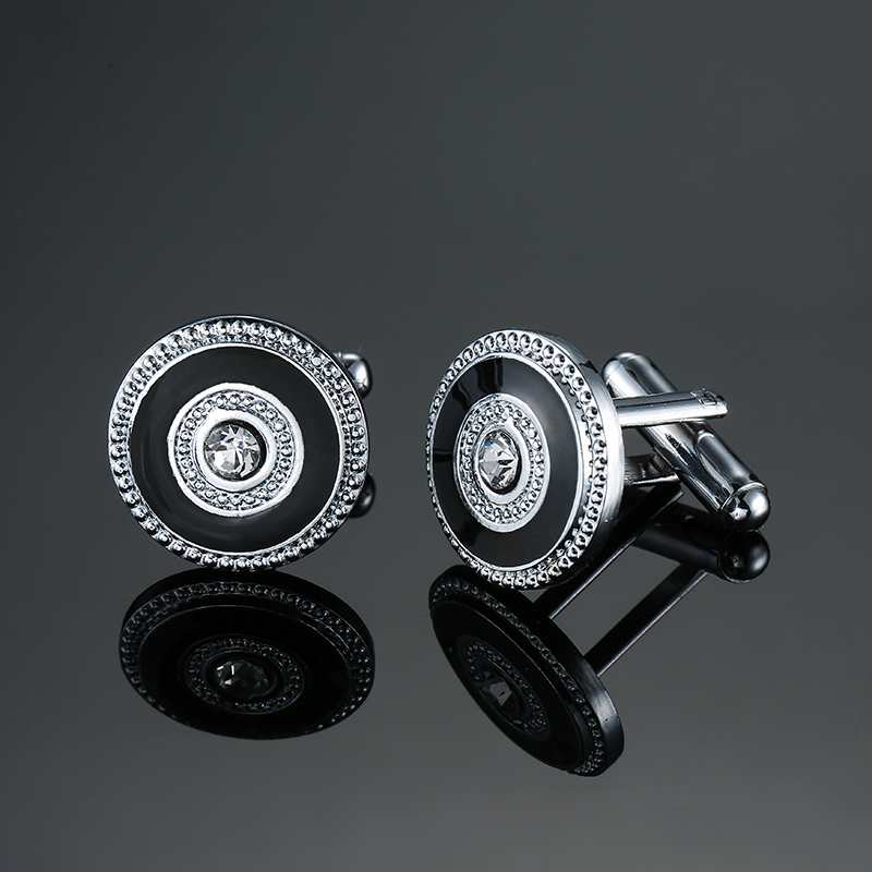 Classic Silver Plated Black Enamel Men's Round Crystal Cufflink Luxury Gift Party Wedding Suit Shirt Buttons Stripe Cufflinks
