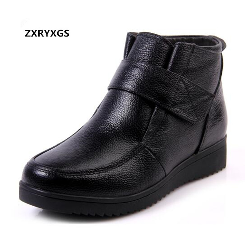 2018 High quality cowhide winter boots Fur one wool boots warm comfort snow boots genuine leather shoes women shoes ankle boots
