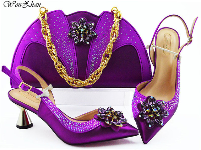 Fashion Women Purple Shoes And Bag Set To Match 7cm High Quality Italian Shoes With Matching Bags For Party! WENZHAN B93-1