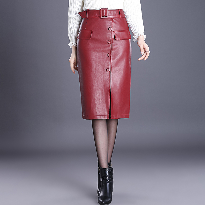 Fall Winter Fashion Office Lady Womens High Waisted Buttons Placket Wine Red Pu Leather Pencil Skirt , Woman 4xl Black Skirts