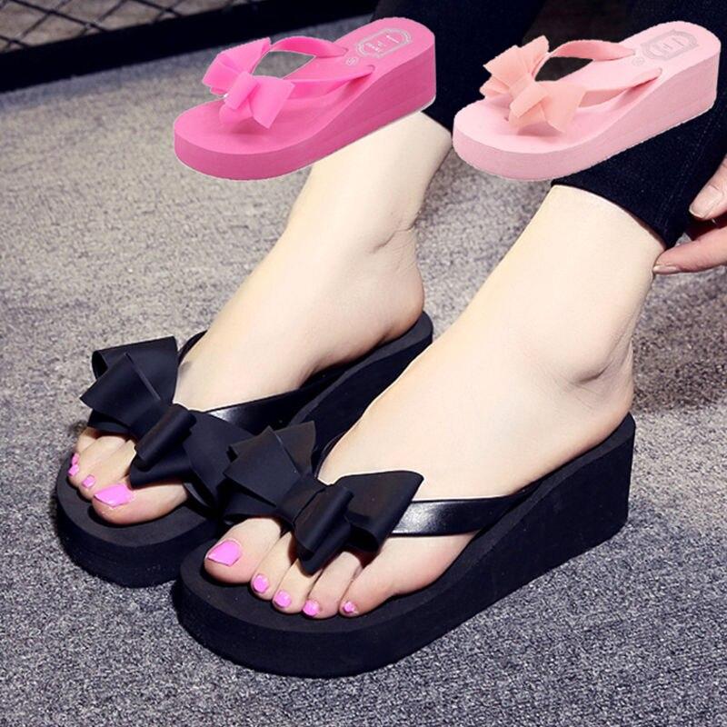 2018 Verão Mulheres Moda Flip Flop Sapatos bowknot Plataforma Fundo Grosso Não-escorregar Sandálias Chinelo Sapatos chaussure femme 833 W