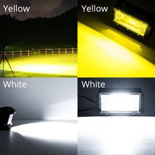 LED Work Light Bar 4×4 Work Led 12V 5inch Offroad 72W Driving Headlight Fog Light Yellow For Off road Lamp Car SUV ATV 1X BOSLLA
