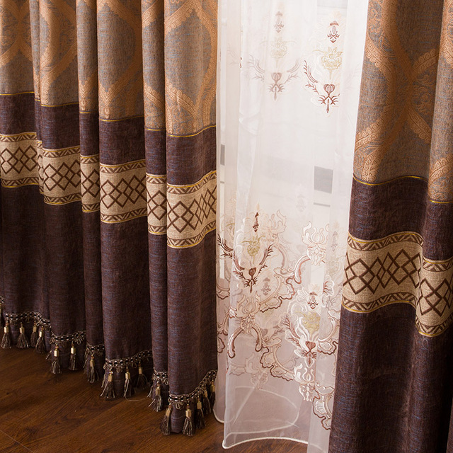 Home Decor Curtains Free Shipping! 2 Pieces/Lot High Class Classic Jacquard  Fabric Art European Style Blackout Luxury Curtain.