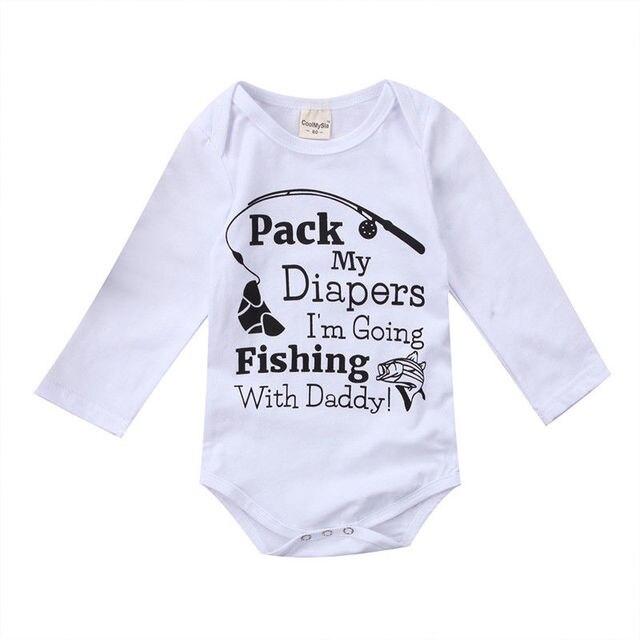 f5cf6d198 2017 Hot Newborn Kids Boy Girl Go Fishing Clothes Long Sleeve Letter ...