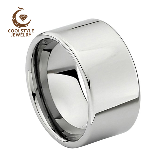 12 Mm Heren Tungsten Wedding Band Shiny Engagement Ring Gepolijst Glanzend Comfort Fit