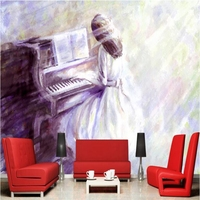 3d Home Wallpaper Hd Bathed In The Sun Playing The Piano Mural Art Painting Bedroom Wall