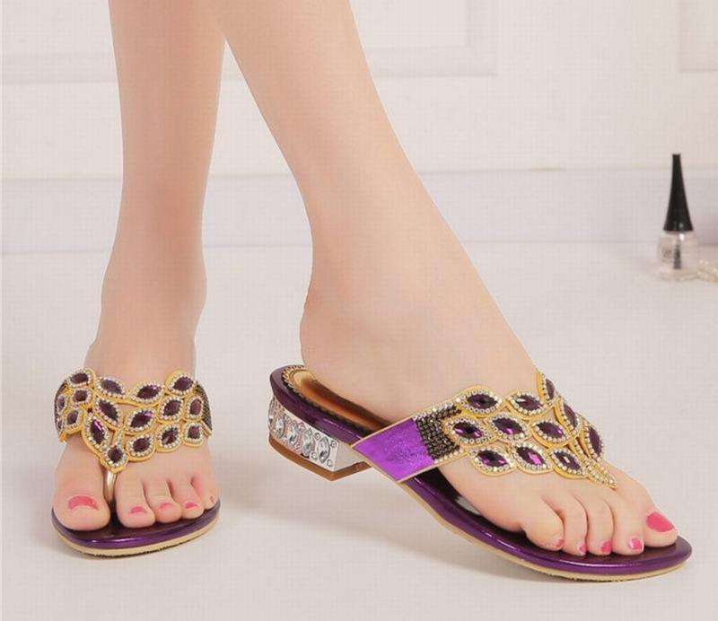 Chaussures 3444 Strass Plat Pantoufles Femmes Cristal Bas Gold Femme Talons Sandales Été Taille Sport Flip Flops Nouvelle Arrivée Grande Plage purple De 5AR43jqL