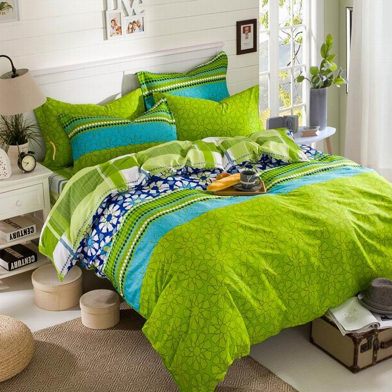 cotton four set bedding article simple printing green discou