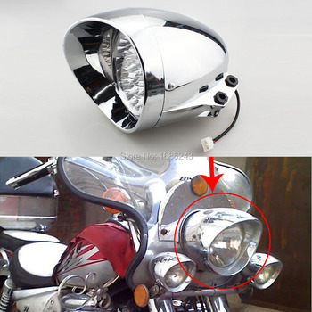 New Chrome 7 LED Motorcycle Bullet Headlight Light Fits For Harley Davidson Choppers Honda Steed Shadow Free Shipping harley davidson headlight price