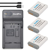 DuraPro 3Pcs NB-13L  Battery +Extremely Slim USB Digital Charger for Canon PowerShot G5 X G7 X G7 X Mark II G9 X SX620 SX720 and so forth.