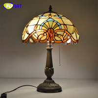 FUMAT Classic Table Lamp European Baroque Stained Glass Lights For Living Room Bedside Table Light Creative Art LED Table Lamps
