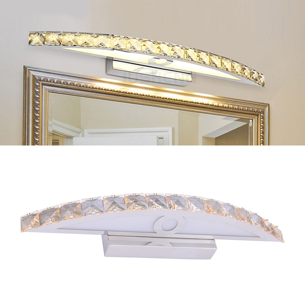 Champagne Crystal Mirror Lamp 2835 LED 10W 44cm AC 85-265V Wall Light Bathroom Bedroom Hallway Aisle Decorative Home Lighting rustic crystal wall lamp fixture with fabric shade for bathroom aisle bedside light e14 1 2 light led indoor wall lamps crystal