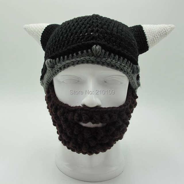 Mr.Kooky Men s Vikings Helmet Hat Horn Beard Gorro Fancy Dress Handmade  Knit Winter Cap e77ca5eb1