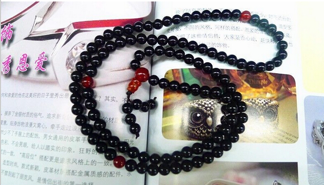 Hot sell wholesaleWholesales 108 Tibetan Buddhist 6mm Elastic Black Agate jade Beads Buddhism Buddha Prayer Mala Necklace Brid