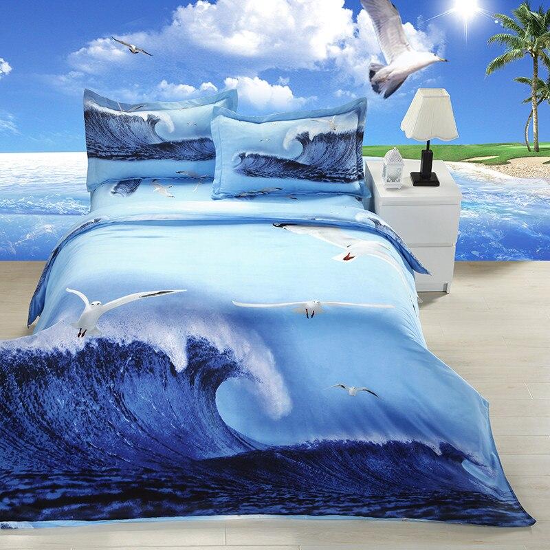 3D literie bleu mer vague motif reine taille literie ensemble 3d linge de lit maison textile literie housse de couette 4 pièces/ensemble housse de couette