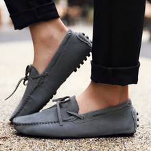 Men Casual Shoes Italy Men Real Suede Leather Sneakers Loafers Moccasins Slip-on Breathable Candy Color Male Flat Shoes Big Size