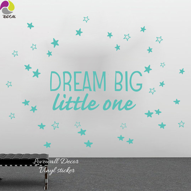 Dream Big Little One Quote Wall Sticker Kids Room Cute Star Inspirational  Motivation Quote Wall Decal