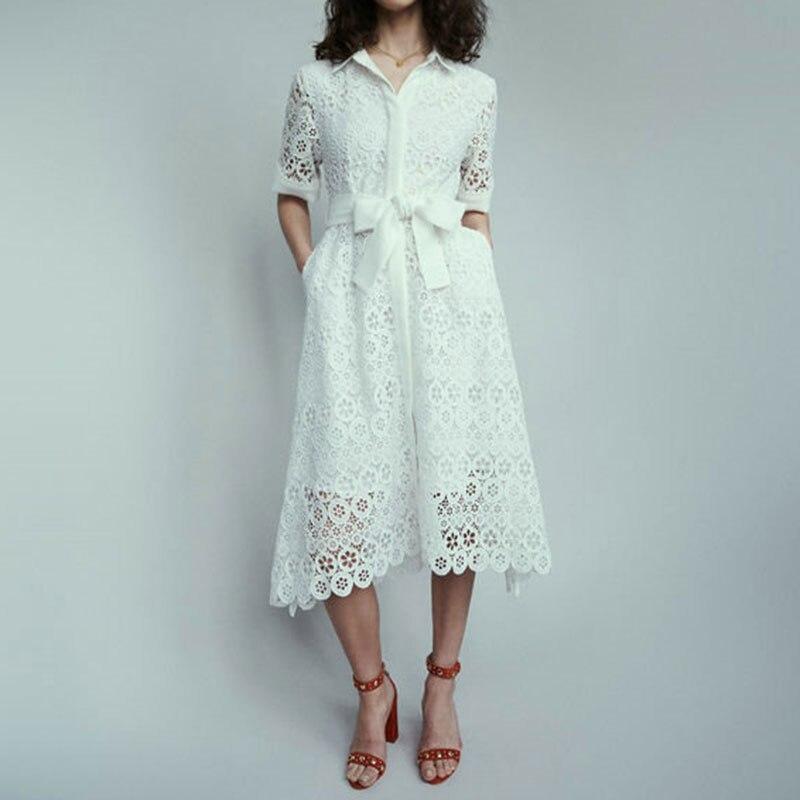 Piste dentelle chemise robe femmes 2019 été évider Floral dentelle robe dames une ligne Midi col rabattu chemise robe blanc