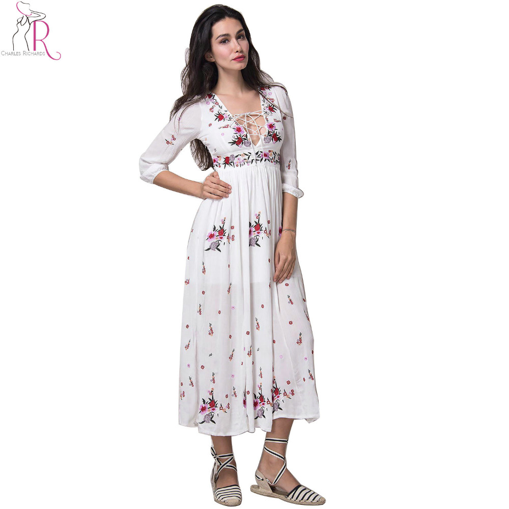 Aliexpress buy white lace up embroidery floral maxi
