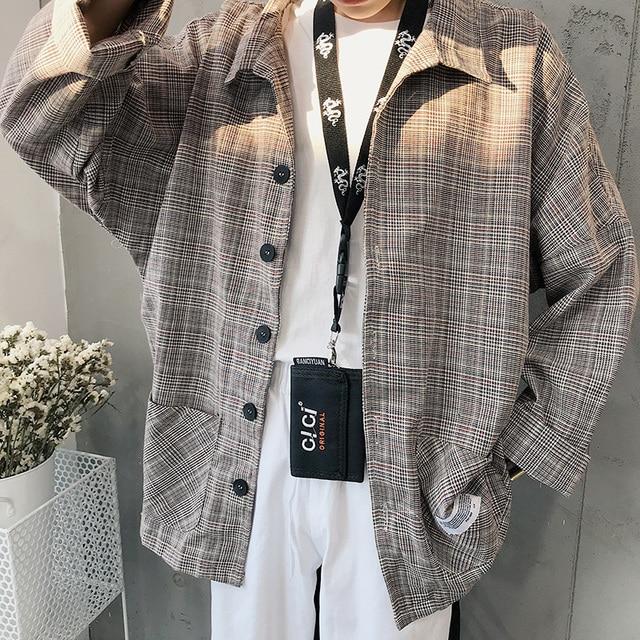 f1fccb38baf5 2018 Japanese Style Men s Lattice Printing Casual coats Cotton Clothes Long  Sleeves Loose Fashion grey khaki Shirts size M-2XL