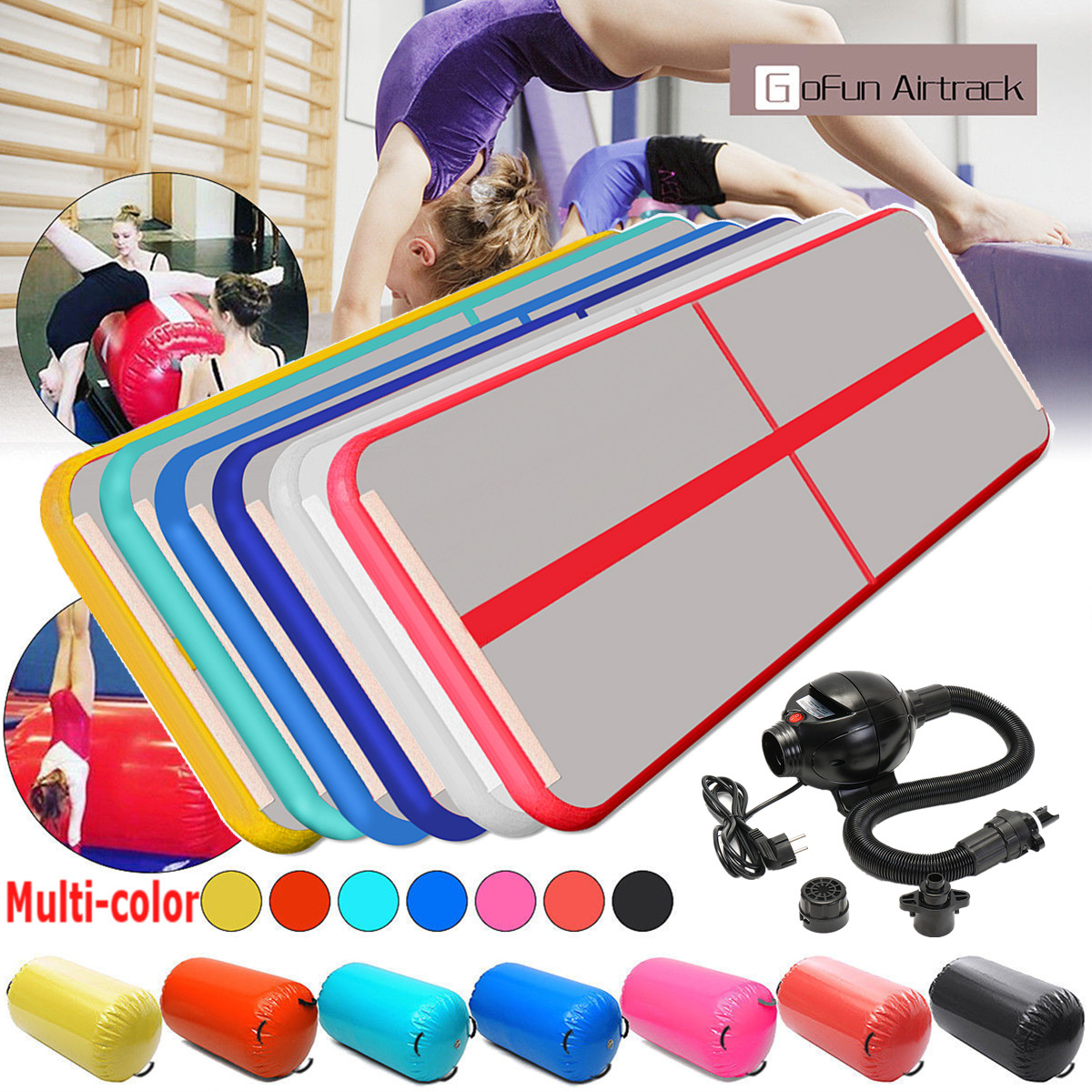 Gofun 118x35x4inch Gym Air Track Floor Pad Home Gymnastics Tumbling Inflatable Rolling Mat 8m gymnastics air track fitness exercise gym air tumbling mat training inflatable track floor home gymnastic high quality