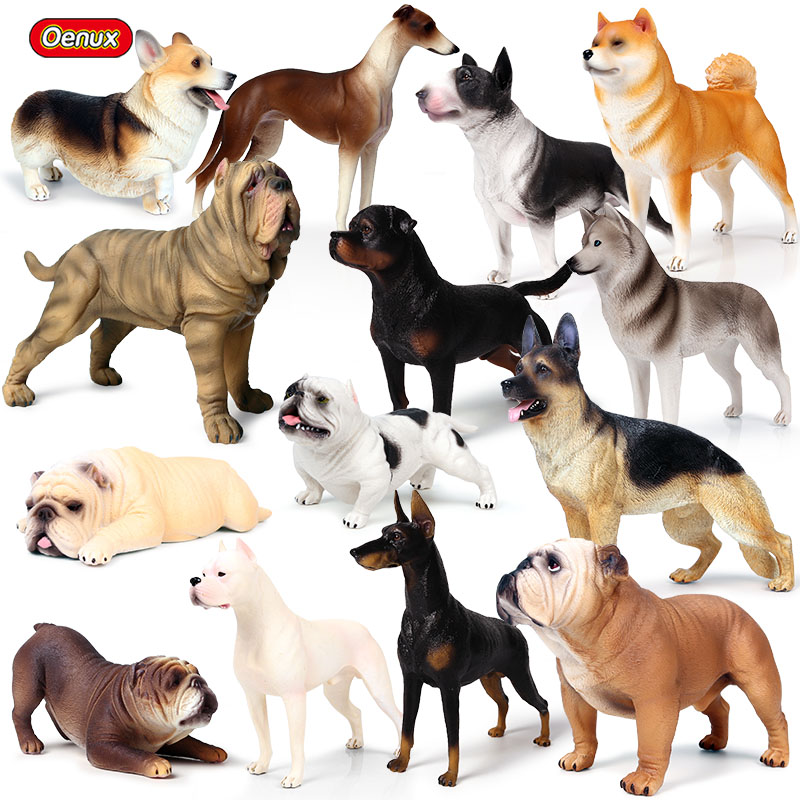 Oenux New Big Dog Animal Simulation Bull Terrier Rottweiler Corgi Shiba Inu Bully Dog Action Figures Pvc Lovely Pet Model Toys