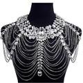 Rhinestone Crystal Bridal Handmade Wedding Shoulder Halter Necklace Imitation diamond Women Pageant Party Prom Jewelry Bijoux
