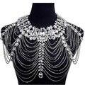 Rhinestone de Cristal de Noiva Ombro Halter vestido de Casamento Handmade Colar Imitação De diamante Mulheres Pageant Partido Prom Jóias Bijoux