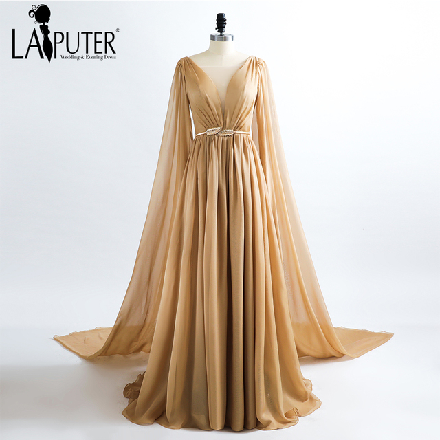 robe de soiree Sheer V-neck A-line Sexy Evening Dress Chiffon Floor Length  Gowns Evening Party Long Gown Saree Prom Dresses 2017 06fac2fb217b