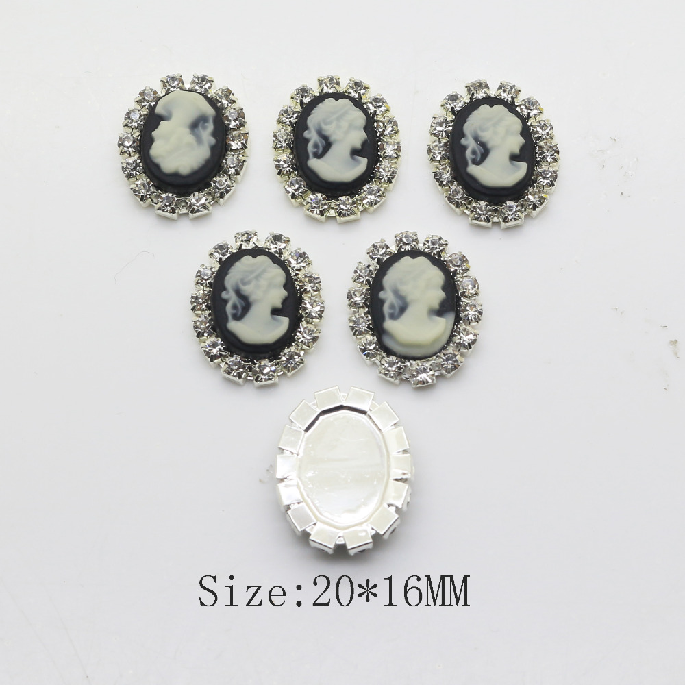 10pcs/set 20mm*16mm Resin Oval Beauty Picture Rhinestone Button DIY Accessories Craft Supplies Decorative Buttons