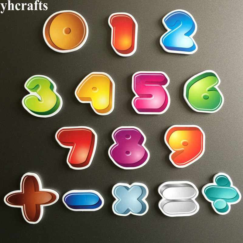 15PCS/LOT.0-9 numbers math symbol magnet Early learning educational toys  Math learning Teach your own Self learning White board