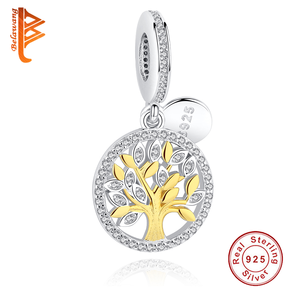 Authentic 925 Sterling Silver Charm Gold Color Family Tree Charm Beads Fit Original Pandora Bracelet Pendant Luxury DIY Jewelry strollgirl car keys 100% sterling silver charm beads fit pandora charms silver 925 original bracelet pendant diy jewelry making