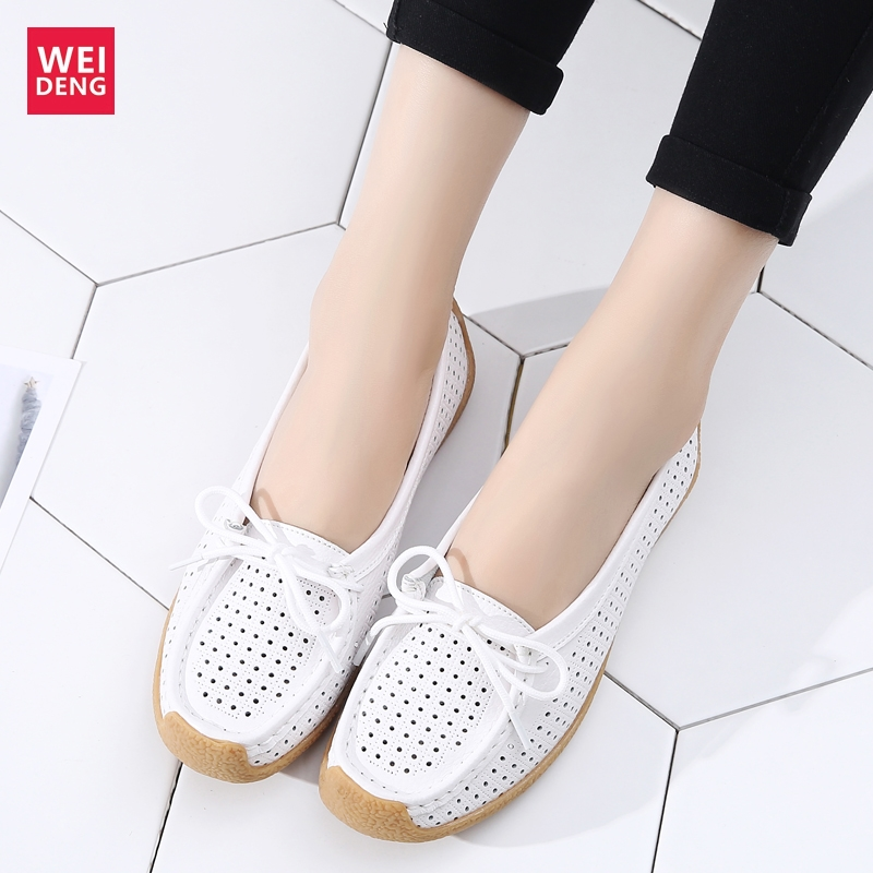 WeiDeng Women 100% Genuine Leather Flat Loafers Shoes Female Casual Lace Up Hollow Out Soft Sole Breathable 2019 New Arrival