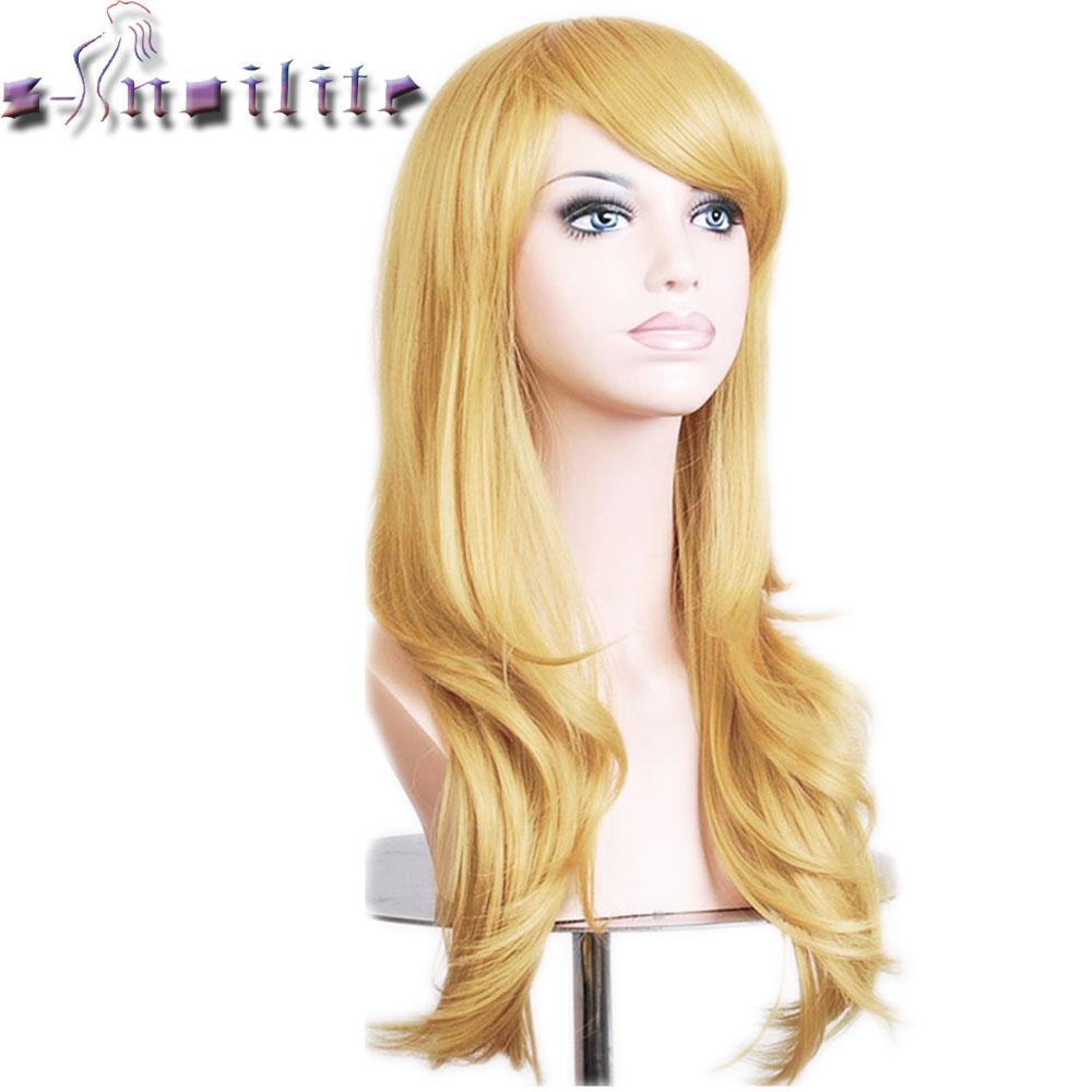 С-noilite 56 см свободная волна Искусственные парики для черные женские Косплэй парик блондинка синий и красный цвета розовый серый фиолетовый волос для человека Вечерние