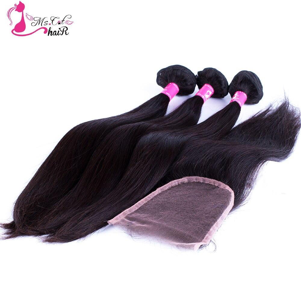 Ms Cat Hair Peruvian Straight Hair Bundles With Closure 3 Bundles Remy Hair Weave 4 Pcs
