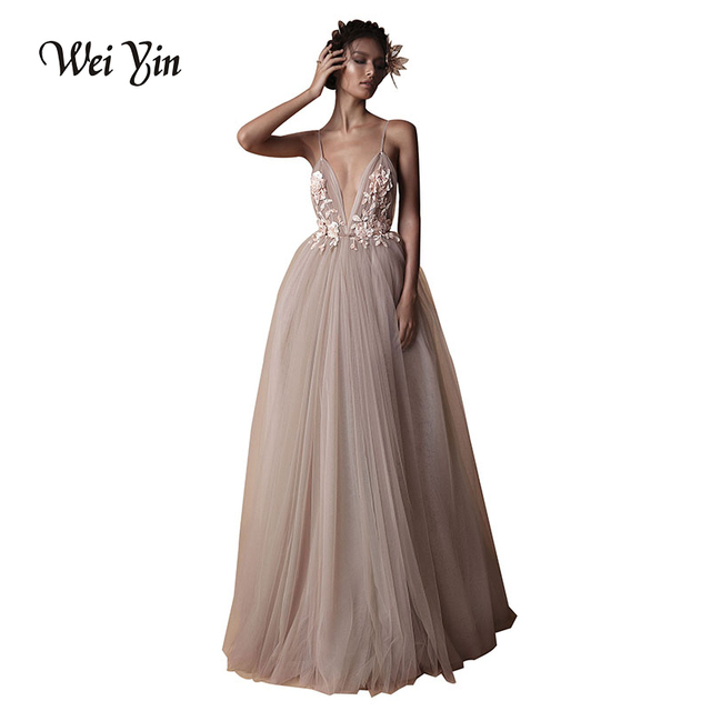WEIYIN Custom Made Sexy Tulle Long Evening Dress 2018 Backless Court Train  Flowers Special Occasion Prom Gowns Vestido de Festa 5a1e51c23a28